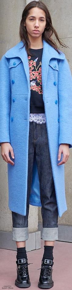 Carven Pre-Fall 2016 cyan coat women fashion outfit clothing style apparel @roressclothes closet ideas
