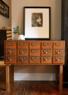 Library Card Catalog Makeover | Craft storage solutions, Vintage ...