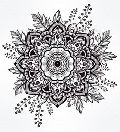 Hand Drawn Ornate Flower In The Crown Of Leaves. - Tattoos Vectors