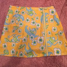 "Lilly Pulitzer skirt size 4 Lilly pulitzer skirt skort size 4. Yellow monkey print. ""Les monkeys"". Lilly Pulitzer Skirts"