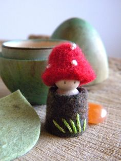 Toadstool Easter Egg Playset, Waldorf Inspired toy, toadstool doll, red, white, brown, green, leaf, Upcycled wool felt, wood, eco toy
