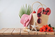 Shopping for a beach bag, beach apparel, flowers, and shells