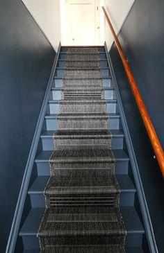 Budget Rental Stairway Redo - Budget Redo of Stairway in a Rental Apartment Big Building Office Stairwell Wall, Stairway Walls, Dark Hallway, Painting Wooden Stairs, Painted Stairs, Stair Railing Design, Wood Railing, Railings, Wood Staircase