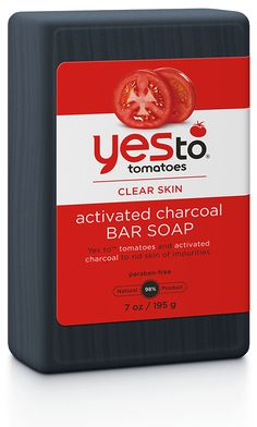Yes To Tomatoes Activated Charcoal Bar Soap for face and body cleanses and helps rid skin of its impurities. Charcoal Bar, Charcoal Soap For Acne, Activated Charcoal Soap, Body Soap, Body Lotions, Cool Bars, Skin Cream, Clear Skin, Face And Body