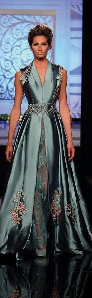 Randa Salamoun | The Jewelry Hut Queen Parlor and Bridal fashion | something old something new | couture style fashion for mother of bride or groom | luxury that catches her chic style and expresses her elegant attitude | pretty woman in blue gown walking down the bridal isle | dress like a queen | #thejewelryhut