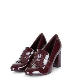 Dark Red Patent Block Heel Loafers  | New Look
