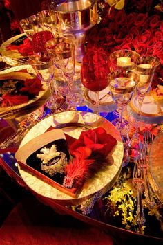 Moulin Rouge Themed Event Table Setting Gold Red Black