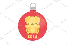 2018 new year yellow dog bauble icon by Bunny's Little Shop on @creativemarket