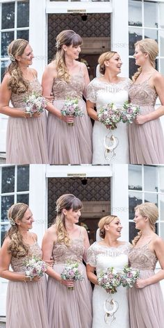 wedding party fashion, blush bridesmaid dresses, chic beaded long formal party gowns,