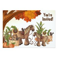 Personalized Cute Horse Autumn Baby Shower Invitation