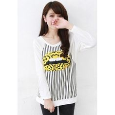 Wholesale Personality & Modern Round-neck Printing Lip Stripe Mixed Colored Long Sleeve Top----White top dresses