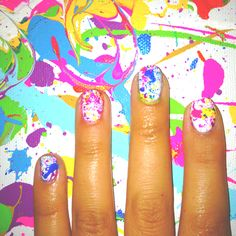 Neon splatter paint nails , my own nails/design