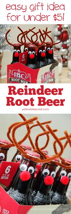 Adorable gift idea for teachers or neighbor! Reindeer Rootbeer - takes minutes to make and costs less than $5! DIY Gifts | Handmade Gifts