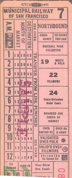Transfer from Municipal Railway of San Francisco (California) - same design as last Market Street Railway design except for operator name (1940s?)