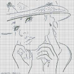 0 point de croix monochrome visage de femme - cross stitch lady's face