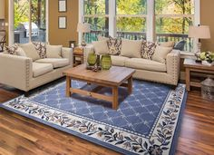 Country blue rug in the living room