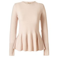 Orla Kiely: Merino/Cashmere blend sweater with a peplum detail. Pretty scallop edges to finish.    Length: 24in (from high shoulder point)