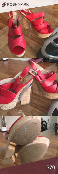 Red wedges ⭐️NEW NEVER WORN⭐️ ⭐️SMOKE/PET FREE HOME⭐️ SOLD OUT STYLE. Chunky heel. Cork bottom. Mirrored detailing on heel. Red faux leather. True to size. Some minor markings which are pictured but not noticeable. 6 inch heel. DV by Dolce Vita Shoes Heels