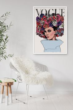 A new addition to our collection of fashion prints. Interior Walls, Interior Design, Vintage Vogue Covers, Wall Decor, Wall Art, Butterfly Chair, Fashion Prints, Decor Styles, Etsy Seller