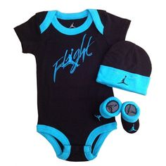 Nike Jordan Baby Shoulder Bodysuit, Booties and Cap 0-6 Months with... ($40) ❤ liked on Polyvore