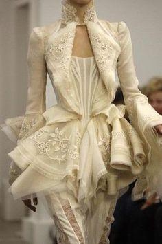 Balenciaga ~ Frills & Furbelows on an Ivory Jacket .... Runway Fashion, High Fashion, Womens Fashion, Steampunk Fashion, Modern Fashion, Gothic Fashion, Paris Fashion, Luxury Fashion, Fashion Trends