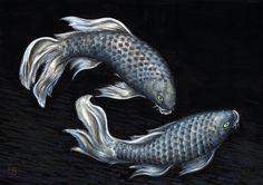 魚黒 Carp 鯉 こい 墨 水彩 FURUFULL