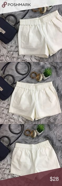 J. Crew Factory White Canvas Shorts J. Crew Factory White Canvas Shorts   Thick canvas material. Perfect for dressing up. Front pockets. Elastic waistband. Flawless condition! Size 0. Waist: 14 in flat (unstretched) Rise: 9 in Hips: 18 in flat Inseam: 3 in J. Crew Factory Shorts