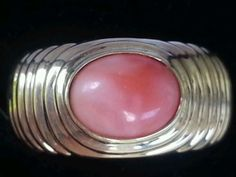 Vintage 18k Yellow Gold Coral Band Ring Estate Jewelry Ladies 5.1 gm