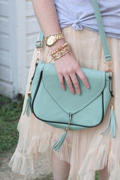 Tassel Detail Square Shaped Shoulder Bag