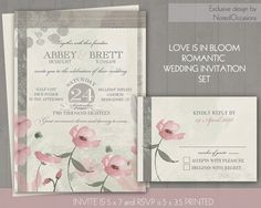 Romantic wedding invitation set featuring blush pink flowers and a romantic background with vintage stylings designed with your blush pink wedding in mind. The rustic chic country wedding invitation is 5x7 and has a mottled sage and cream background with a soft blush pink flowers growing from the bottom of the invitation. Contemporary and yet vintage styled typography and cool fonts complete the country vintage florals wedding invitations.