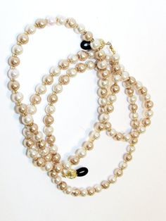 Blush Champagne Glass Pearl  Beaded Eyeglass Chain by nonie615, $17.00