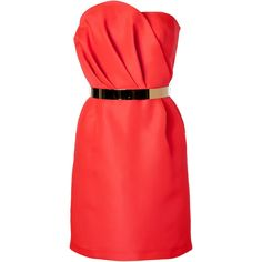 TARA JARMON Bright Orange Silk Bustier Dress ($1,140) ❤ liked on Polyvore