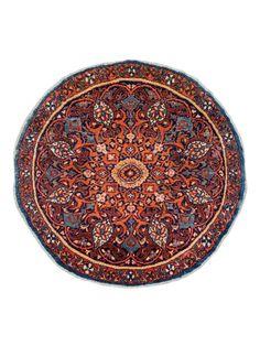 Antiek rond Isphahan tapijt , 85 cm rond.