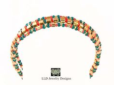 Gold And Red Coral Beaded Bracelet Seed Bead di LLDArtisticJewelry, $10.00