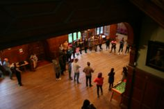 A photo from a group activity that was held in the main hall and led by the young leaders