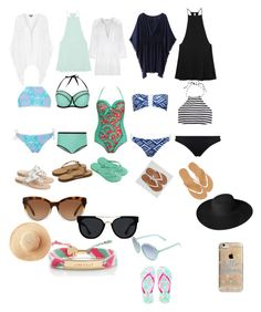 """""""Week at the beach swim suits"""" by amypavon on Polyvore featuring New Look, Paolita, Topshop, J.Crew, Seafolly, RVCA, Miguelina, Jack Rogers, Havaianas and Charlotte Russe"""