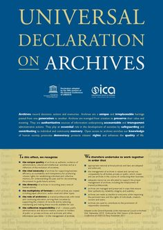Archives record decisions, actions and memories. Archives are a unique and irreplaceable heritage passed from one generation to another.