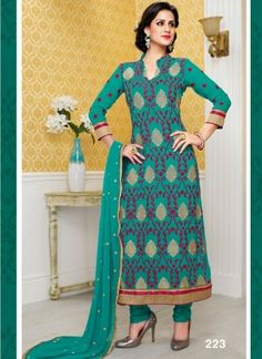 Charming Teal designer Churidar Suit