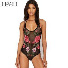 1c3b20a8f9 HYH HAOYIHUI Sexy Floral Printed Bodysuit Women Sheer Mesh Strap Embroidery Bodysuit  Female Breathable O-