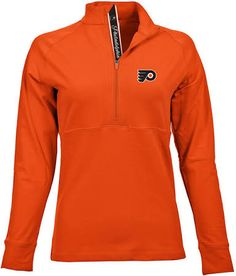 NHL Philadelphia Flyers Women's Harmony Signature Script Half Zip, XX-Large, Spiced Orange