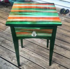 Nightstand/Side Table refurbished with Unicorn Spit Furniture Fix, Resin Furniture, Diy Garden Furniture, Hand Painted Furniture, Funky Furniture, Refurbished Furniture, Repurposed Furniture, Furniture Projects, Furniture Makeover