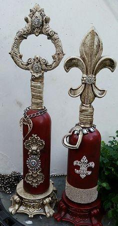Decorative Bottles : Michelle Butler Designs- Fabulous original works of art! Antique Perfume Bottles, Recycled Bottles, Vintage Bottles, Liquor Bottles, Bottles And Jars, Glass Bottles, Painted Bottles, Wine Bottle Art, Diy Bottle