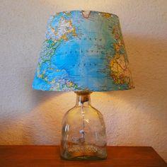 Patron Bottle Lamp w/ World Map Shade by BottleRocketDesign, $75.00