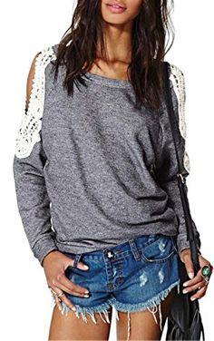 Finejo Women Long Sleeve Off Shoulder Loose Gray Lace Top Blouse, Gray, Small Finejo http://www.amazon.com/dp/B0179M3JVS/ref=cm_sw_r_pi_dp_3POKwb0FFMYZ8