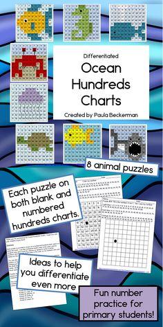 Ocean Hundreds Chart Mystery Pictures - science elementary Kindergarten Science, Teaching Math, Teaching Ideas, Preschool, Math Stations, Math Centers, Ocean Projects, Ocean Unit, 1st Grade Math