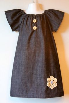 Denim Peasant dress