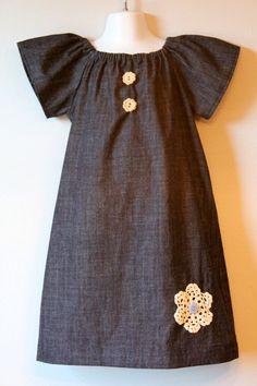 Denim Peasant dress Love the buttons!