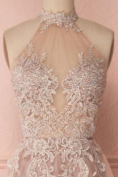 Charming Halter Lace Appliques With Beaded Open Back A-Line Floor Length Tulle Prom Dress, Prom Dresses, VB0483