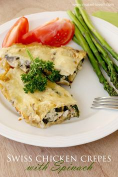 Swiss Chicken Crepes with Spinach (...Gluten Free version included)