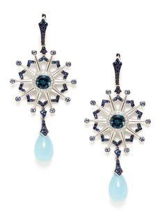 Star & Garter Chalcedony Briolette Starburst Earrings by Garrard